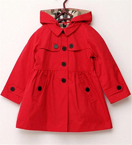 Cromoncent Girl Casual Loose Fit Hooded Single Breasted Outwear Jacket Trench Coat Red 5T by Cromoncent (Image #1)