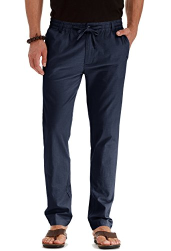 Mr.Zhang Men's Drawstring Casual Beach Trousers Linen Summer Pants Navy Blue-US 36