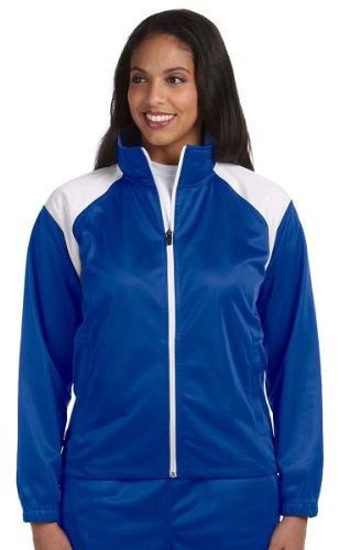 Harriton M390W Ladies Tricot Track Jacket - TRUE ROYAL/WHITE - Large