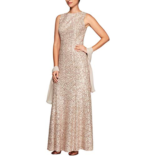 Alex Evenings Women's Long Sleeveless Dress with Beaded Detail Faux Belt and Shawl, Champagne/Ivory, 14