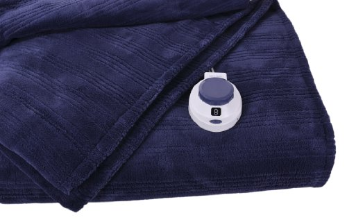 Soft Heat Ultra Micro-Plush Low-Voltage Electric Heated Triple-Rib Twin Size Blanket, Nightshadow Blue by SoftHeat
