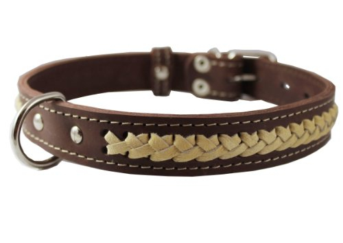 High Quality Genuine Leather Braided Dog Collar, Beige on Brown 1″ Wide. Fits 17″-20.5″ Neck., My Pet Supplies