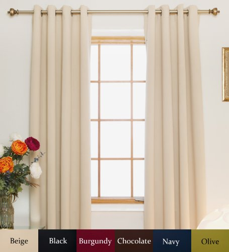 Beige Nickel Grommet Top Energy Saving Thermal Insulated Blackout Curtain 64 Inch Length Pair