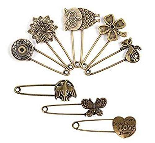 Hemore BPC Lot de 8/Bronze Vintage Hijab Broches Broche Broches /épingles /à nourrice Halloween Thanksgiving D/écoration Cadeau