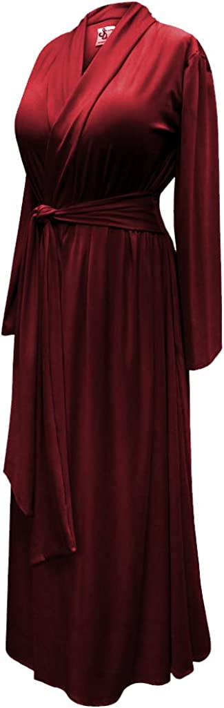 Vintage Nightgowns, Pajamas, Baby Dolls, Robes Solid Burgundy Wine Plus Size Robe in Poly/Cotton and Ultra Soft Brushed Jersey with Attached Belt $69.99 AT vintagedancer.com
