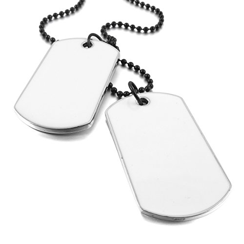 INBLUE Mens 2 PCS Alloy Enamel Pendant Necklace Army Name Double Dog Tag 27 Inch Chain