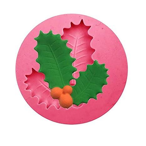 Outflower Serie de Navidad Silicona Fondant Pastel Molde de gelatina Pudding la Mano Hojas de Navidad Copos moldes Serie de Navidad de Horno Herramientas de ...