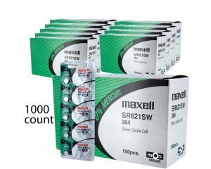 1000 pcs Maxell SR621SW SR60 SG1 364 Silver Oxide Watch Battery by Maxell