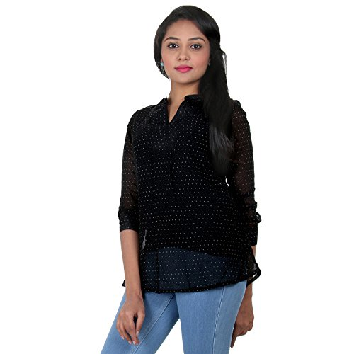 eSTYLe Caviar Black With White Dots Print Polyster Summer Top