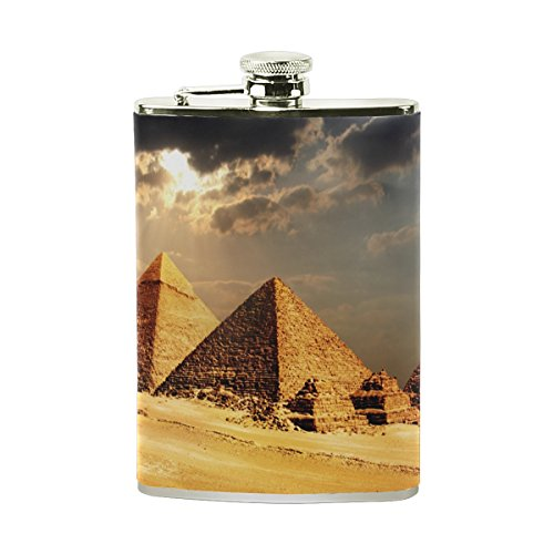 Egyptian Sphinx And Pyramid Portable Leather Stainless Steel Hip Flask Alcohol Whiskey Liquor Wine Pot Flagon Pocket Bottle - 8 oz - Stainless Steel Figure 8 Burner