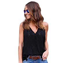 Napoo Women Vest Tops, Pullover Solid Lightweight T-Shirt Sleeveless Casual Blouse