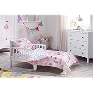 Bloomsbury Mill – 4 Piece Toddler Comforter Set – Magic Unicorn, Fairy Princess & Enchanted Castle – Pink – Kids Bedding Set