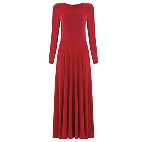 IBTOM CASTLE Women's Belly Dance Chiffon Skirt ATS Voile Maxi Full Dress Bellydance Skirt Red ()