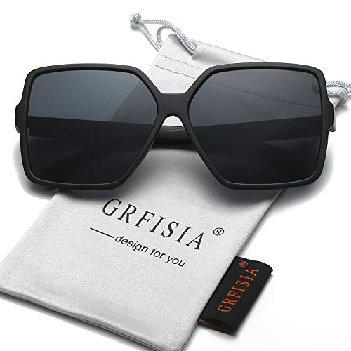 GRFISIA Square Oversized Sunglasses for Women Men Flat Top Fashion Shades (Black Frame/Black Lens, 2.36)