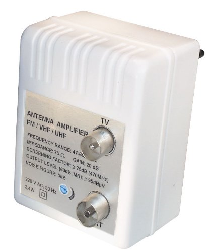 Transmedia FP4iRL Stecker Antennenverstärker (47-862MHz, Verstärkung 20dB, regelbar 0-10dB)
