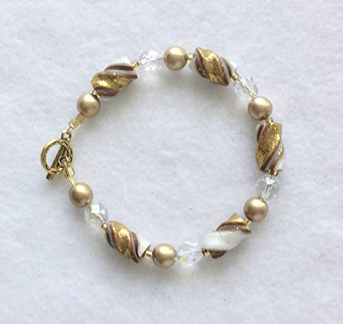 Glittery Gold and Pearl Twisted Bead Bracelet Handcrafted Polymer Clay Glass Beads Toggle Clasp