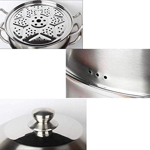 Vitaliseur 2 Niveau Steamer Pan Set For Cuisson En Acier Inoxydable Multifonction Steamers Plaques À Induction Marmite Avec Couvercle Universel Gaz