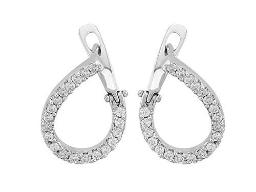 Birgie Diamants et Bijoux -Boucles d'Oreilles Diamants-Femme- or Blanc 204E0025