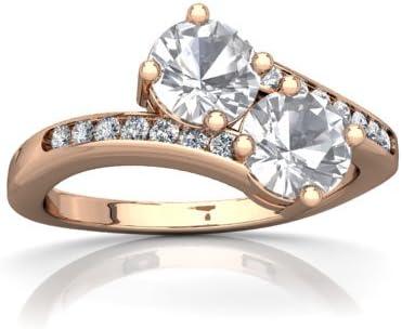 Amazon Com White Topaz And Diamond Round Keepsake Two Stone Ring Jewelry