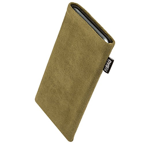 fitBAG Classic Khaki Custom Tailored Sleeve for BlackBerry KEY2 / KeyTwo | Made in Germany | Genuine Alcantara Pouch case Cover with Microfibre Lining for Display Cleaning (Fitbag Blackberry)