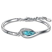Bracelet Women, Fairy Season Good Luck Bracelet Four-Leaf Clover Made with Swarovski Crystals Jewelry for Women