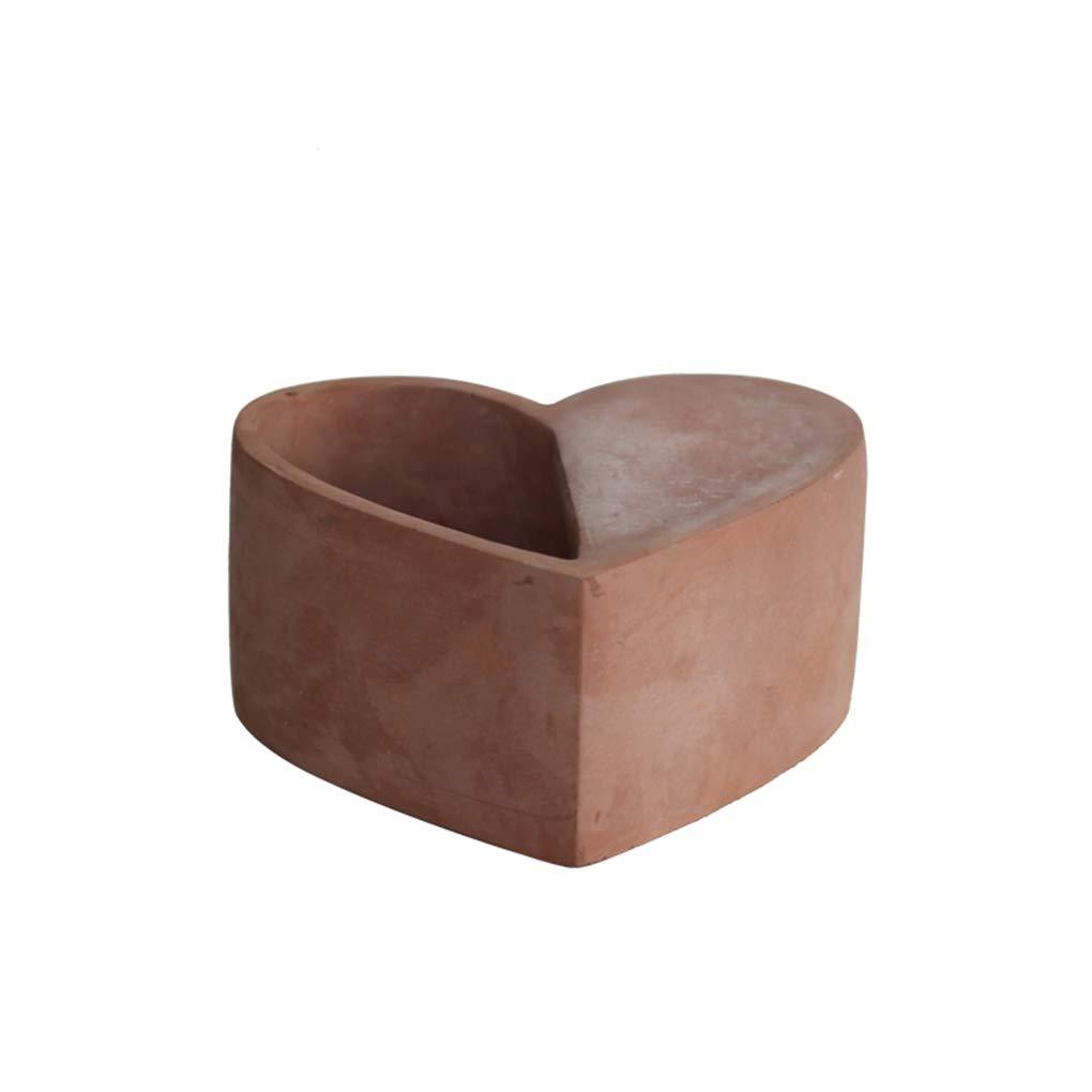 ADAHX Vasi da Fiori, vasi di Cemento a Forma di Cuore, creatività Individuale, vasi per Piante di Alta qualità carnosi per la casa, Ufficio con vasi con Foro di Scarico (Senza Piante),Red