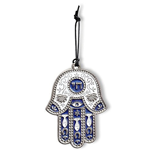 Jewish Chai Living Good Luck Home Wall Decor Multicolor Hamsa Hand - Medium - Made in Israel (Blue)]()