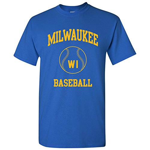 Milwaukee Brewers Jersey - Milwaukee Classic Baseball Arch Basic Cotton T-Shirt - Large - Royal