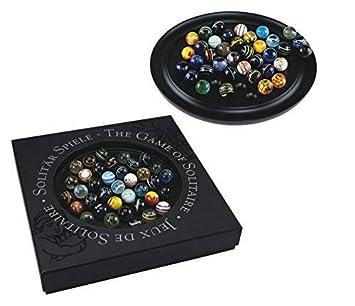 Glaskugeln G629 Ebenholz Spielbrett Edles Französisches Solitär Brettspiel