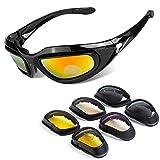 BELINOUS Polarized Motorcycle Riding Glasses, Tactical Glasses w/Black Frame 4 Lens Kit Copper Smoke...