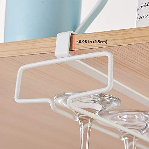 Alliebe copas Copa de vino de vidrio rack percha titular bajo gabinete estante almacenamiento sin perforaci/ón para cocina conjunto de 2