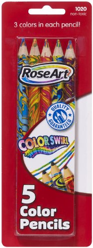 RoseArt Rainbow Swirl Jumbo Colored Pencils, 5-Count, Packaging May Vary (1020VA-48), Office Central