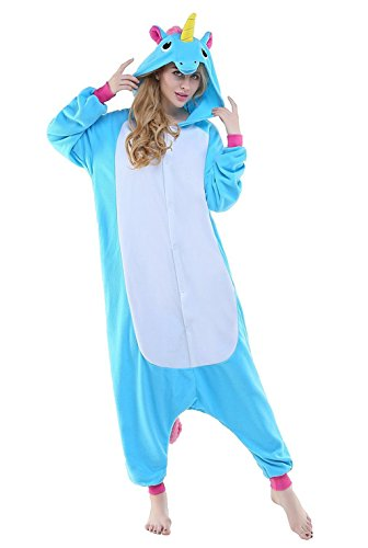 [Unisex Adult Unicorn Set Pajamas Animal kigurumi Onesies Costumes Blue New Medium] (Chipmunk Squirrel Costume Party)