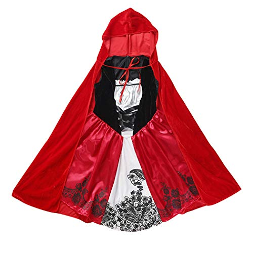 JEFF-CWBH Halloween Costume Little Red Riding Hood School Stage Performance Costume Carnival Night Children's Little Red Riding Hood COS Clothing Fairy Tale Costume Set,Red,L