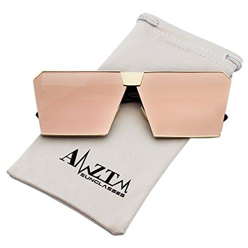 carré Surdimensionnés Miroir soleil de femme Rose objectif polarisées réfléchissant AMZTM Lunettes Txqpdqw