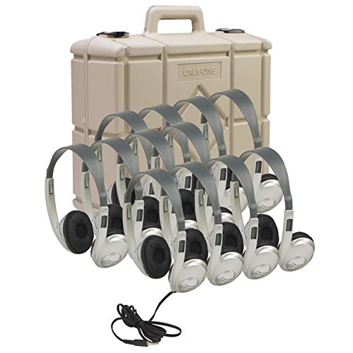 Califone 3060-AVS-12 Multimedia Stereo Headphones with Case, Silver, Set of 12