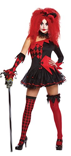 New Womens Halloween Jesterina Clown Ladies Fancy Dress Party -