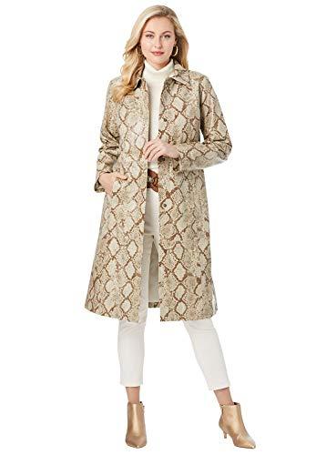 Jessica London Women's Plus Size Trench Coat Genuine Leather Coat