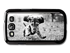 AMAF ? Accessories Cute Dog Jumping On The Grass Black & White case for Samsung Galaxy S3