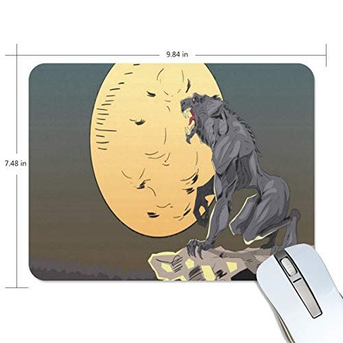 Mouse Pad 9.8 x 7.4 Inch Non-Slip Rubber Base Mousepad Halloween Background with Wolf Mouse Mat Fit Laptop/Computer/PC -