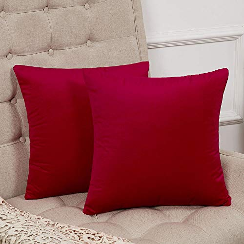 WLNUI Set of 2 Soft Velvet Solid Red Decorative Square Throw Pillow Covers Set Cushion Case for Sofa Couch Home Decor 20x20 Inch 50x50 cm ()