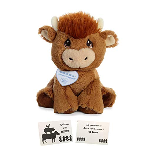 Aurora World Precious Moments Buster Bull 8.5 Stuffed Toys Bundled with a Farm Themed Baby Gift Greeting -