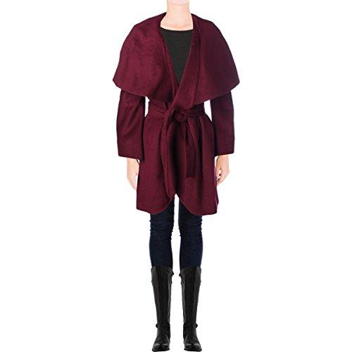 T Tahari Women's Marla Wool Wrap Coat, Country Apple, Large