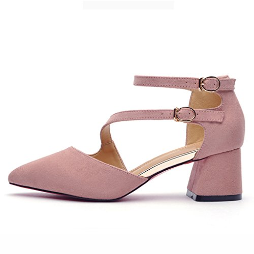Pointu Talons Femme Couleur Simples Chaussures Rose Noir wICCBxZq