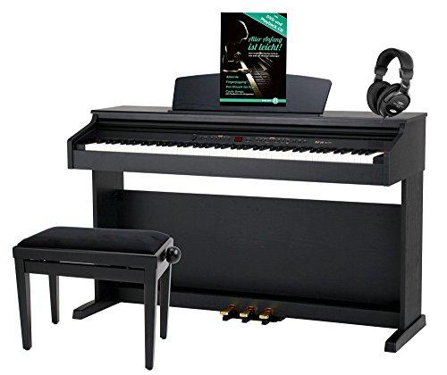 Classic Cantabile DP-50 SM E-Piano SET (Digitalpiano mit Hammermechanik, 88 Tasten, 2 Anschlüsse für Kopfhörer, USB, LED, 3 Pedale, Piano für Anfänger, Pianobank, Kopfhörer, Klavierschule) schwarz matt