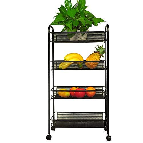 YIMU 4 Tier Mesh Wire Rolling File Organizer Utility Cart Kitchen Storage Cart on Wheels, Steel Wire Basket Shelving Trolley for Office Kitchen, Black