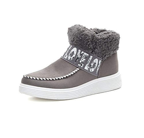 Perezosos Gray Mujer Terciopelo Tubo Zapatos Gruesas Botas Algodón Ocio Algodón De Corto Además Cálido Moda Suelas Botas Nieve Meili qUxHOpwpE