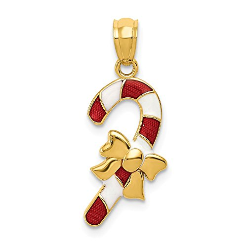 14k Yellow Gold Enameled Candy Cane Pendant Charm Necklace Holiday Fine Jewelry Gifts For Women For Her - Enameled Holiday Bells