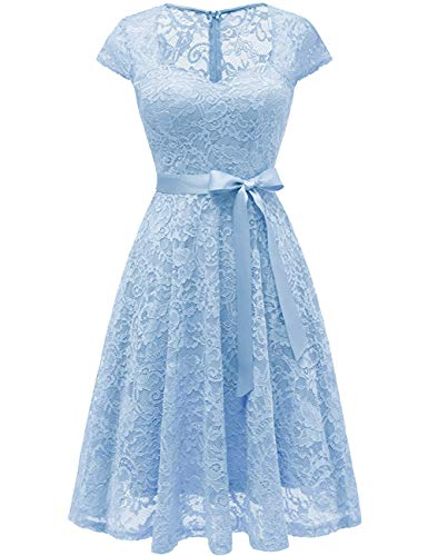 Short Zipper Sky Homecoming Blue Bridesmaid Dress Ribbon Bridal s Bess Lace Women Back wYFISnqp