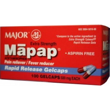 Mapap Rapid Release Gelcaps, 500mg, 100ct (2 PACK) -  MAJOR PHARMACEUTICALS